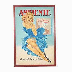 Vintage Eiscreme Werbeposter, 1960er