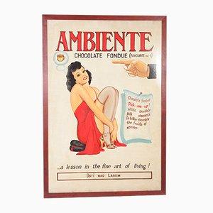 Póster publicitario vintage de fondue de chocolate, años 60