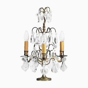 Lámpara de mesa francesa antigua de latón y cristal