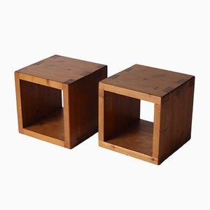 Minimalist Pine Cube Stools, 1970s, Set of 2