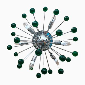 Chrome & Green Murano Glass Sputnik Flush Mount or Wall Light from Italian light design