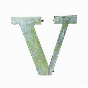Panneau Lettre V Industriel en Métal, 1960s