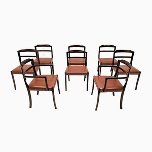 Danish Leather and Mahogany Dining Chairs by Ole Wanscher for A. J. Iversen, 1960s, Set of 8