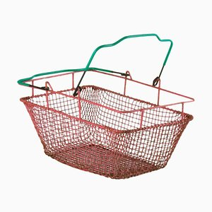 Mid-Century Red Metal Shopping Basket, 1960s