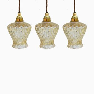 Mid-Century French Brass and Colored Glass Ceiling Lamps, Set of 3