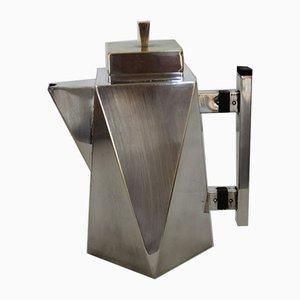Cafetera italiana estilo Art Déco bañada en plata, años 40