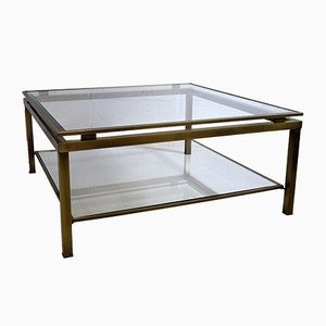 French Brass and Etched Glass Coffee Table from Maison Jansen, 1970s