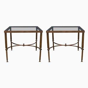 Französische Beistelltische aus Messing & Glas, 1950er, 2er Set