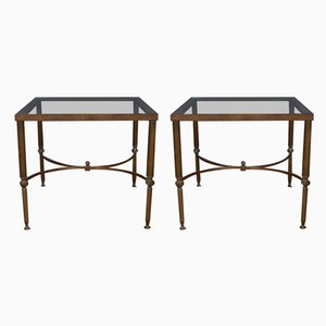 French Brass and Glass Side Tables, 1950s, Set of 2
