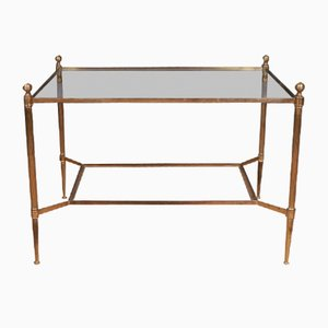Mid-Century French Brass and Glass 2-Tier Console Table, 1950s