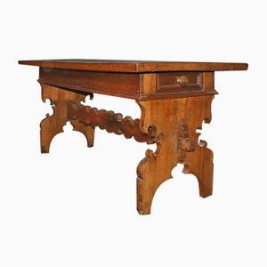 Antique Italian Walnut Trestle Table, 1790s