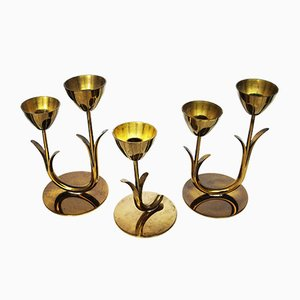 Brass Candleholders by Gunnar Ander for Ystad-Metall, 1960s, Set of 3