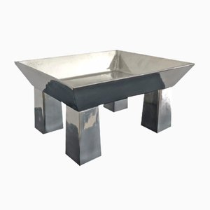 Hammered Pewter Centre Table by Ettore Sottsass for Metallia Serafino Zani, 1999