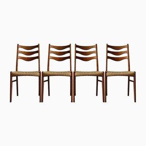 Dänische Sprossenstühle mit Sitzgeflecht & Gestell aus Teak von Arne Wahl Iversen, 1968, 4er Set