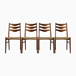 Danish Teak and Paper Cord Ladder Back Chairs by Arne Wahl Iversen, 1968, Set of 4