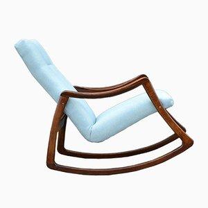 Rocking Chair en Hêtre et Tissu de TON, 1960s