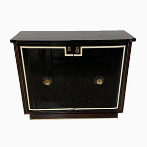 Art Deco Style Brass and Black Lacquered Wood Cabinet, 1940s