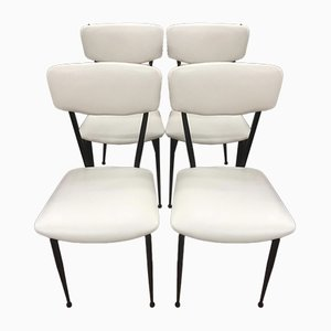 Metal and White Eco-Leather Dining Chairs, 1970s, Set of 4