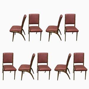Französische Mid-Century Esszimmerstühle aus Buche & Kunstleder, 9er Set