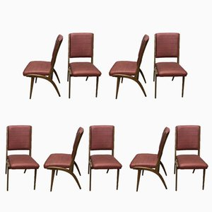 Mid-Century French Beech & Leatherette Dining Chairs, Set of 9