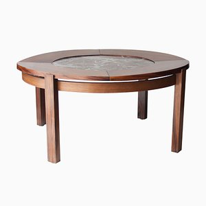 Mid-Century French Rosewood & Marble Coffee Table, 1970s