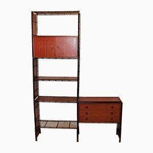 Iron and Wood Modular Bookshelf from Multimueble, 1970s