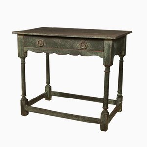 Antique English Painted Oak Side Table, 1780s