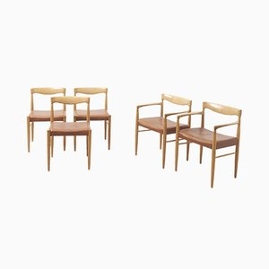 Chaises de Salle à Manger en Cuir et Chêne par HW Klein pour Bramin, Danemark, 1960s, Set de 5