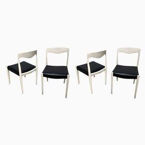 Französische Esszimmerstühle aus Teakholz & Öko-Leder, 1960er, 4er Set