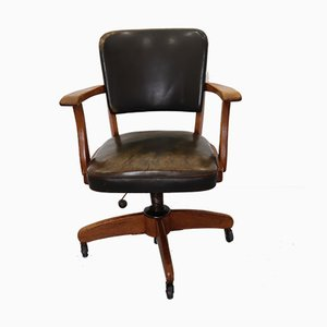 Leather and Wood Swivel Chair by STOLL Giroflex for International Harvester Company, 1950s