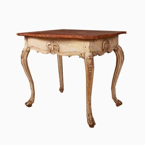 Antiker schwedischer Couchtisch aus Holz & Marmor, 1830er