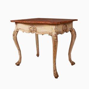 Tavolino da caffè antico in legno e marmo, Svezia, inizio XIX secolo
