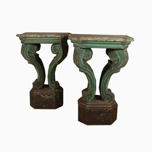 Antique Italian Painted Console Tables, 1840s, Set of 2