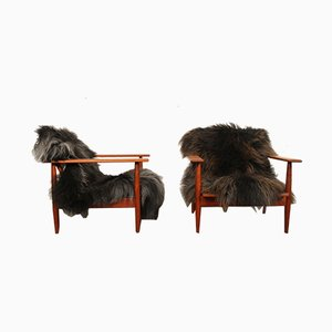 Danish Teak and Lambskin Lounge Chairs, 1960s, Set of 2