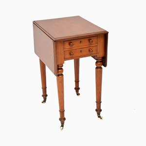 Antique Victorian Mahogany Drop-Leaf Side Table