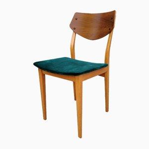Silla de escritorio danesa escandinava moderna de terciopelo y nogal, años 60