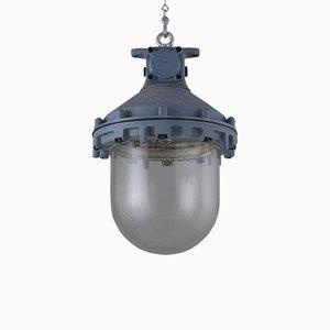 Lámpara de techo industrial Mid-Century de aluminio de Victor, años 40