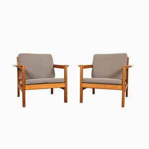 Danish Oak & Wool Model 227 Lounge Chairs by Børge Mogensen for Fredericia, 1960s, Set of 2