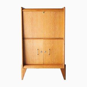 Mid-Century Modern Oak & Brass Bar Cabinet by René Gabriel, 1950s