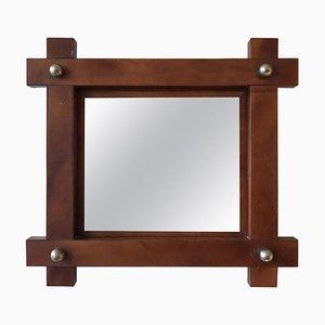 Kleiner französischer Spiegel mit Lederrahmen, 1950er