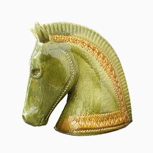 Italian Ceramic Green Horse Head Sculpture by Aldo Londi for Bitossi, 1990s