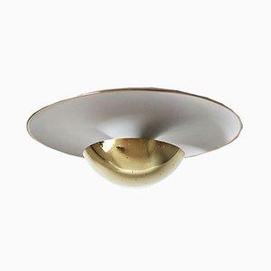 Italienische Deckenlampe aus Aluminium & Messing von Gino Sarfatti für Arteluce, 1950er