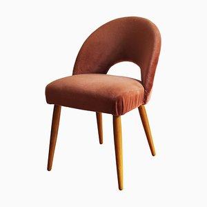 Mid Century Salmon Pink Velvet Chair