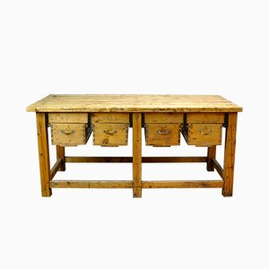 Mid-Century Industrial Iron and Pine Worktable, 1950s