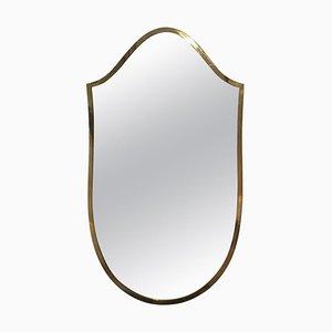 Petit Miroir en Forme de Bouclier en Laiton, Italie, 1950s
