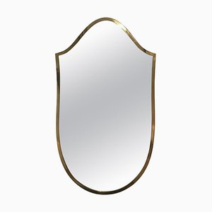 Small Italian Brass Shield Shaped Mirror, 1950s