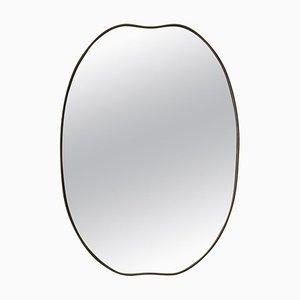 Ovaler italienischer Spiegel mit Messingrahmen, 1950er
