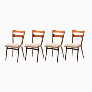 Czechoslovak Walnut Veneer Dining Chairs from TON, 1960s, Set of 4
