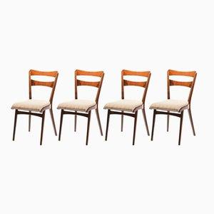 Tschechoslowakische Esszimmerstühle aus Walnussfurnier von TON, 1960er, 4er Set