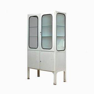 Mueble médico industrial vintage de vidrio y hierro, años 70